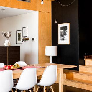 パースの中サイズのトランジショナルスタイルのおしゃれなダイニングキッチン (白い壁、コンクリートの床) の写真