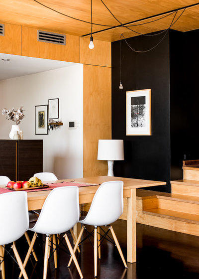 Transitional Dining Room by Dion Photography
