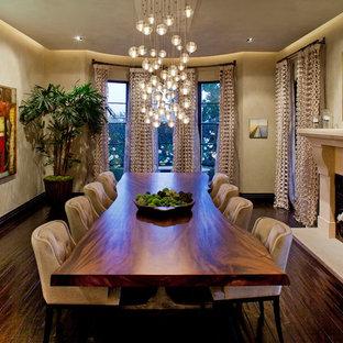Immagine di una grande sala da pranzo design con pareti beige, parquet scuro, camino classico e cornice del camino in pietra