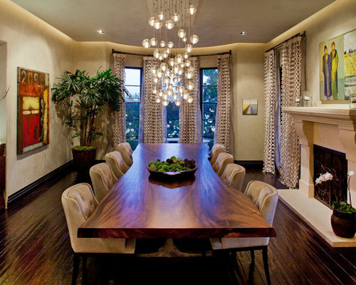 unique dining furniture. inspiration for a large contemporary dark wood floor dining room remodel in los angeles with beige unique furniture