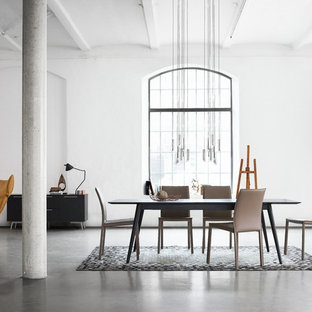 Scandi dining room in London with white walls and concrete flooring.