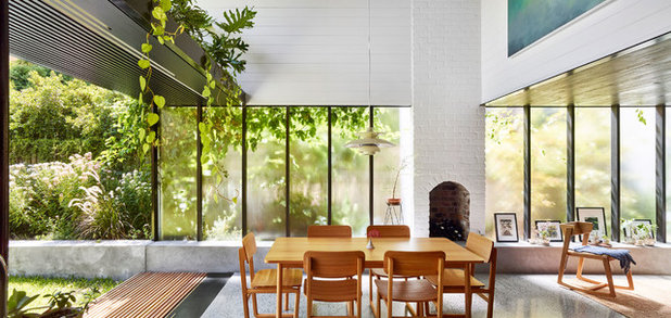 Contemporary Dining Room by JOHN ELLWAY. ARCHITECT