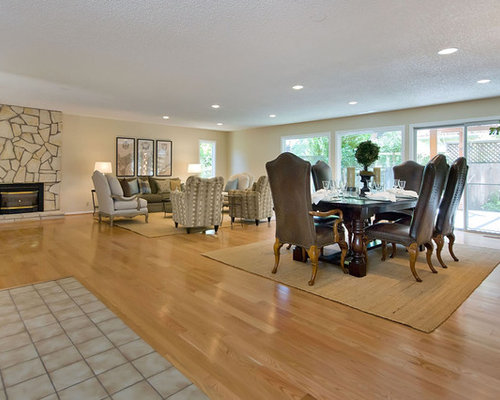 Elegant medium tone wood floor dining room photo in San Francisco with  beige walls, a
