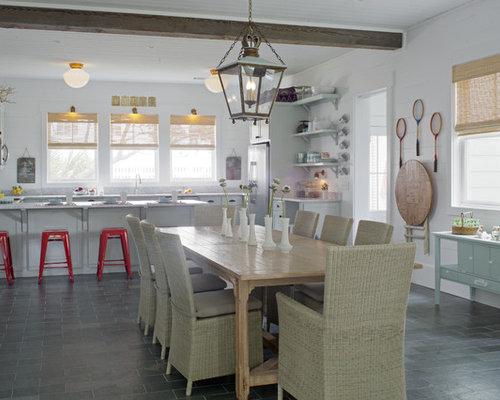 Salle à manger bord de mer avec un sol en ardoise : Photos et ...