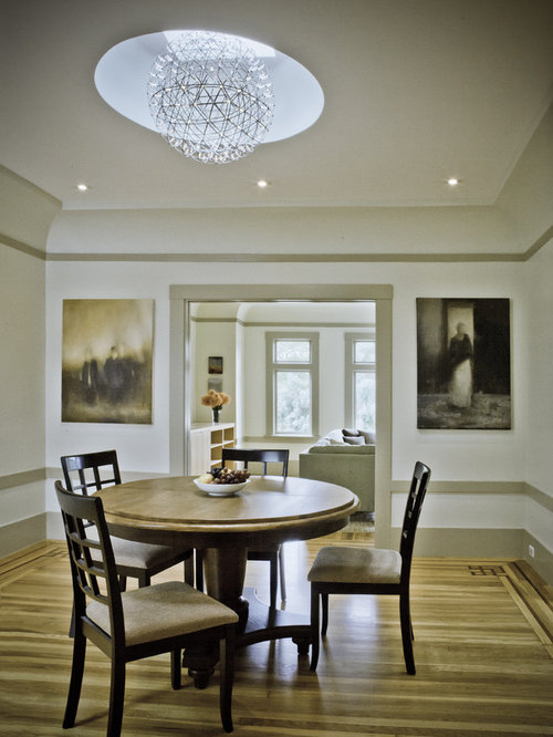 Inspiration For A Timeless Medium Tone Wood Floor Dining Room Remodel In San Francisco With White