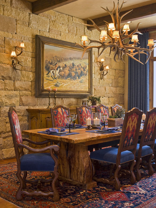 Mountain Style Dining Room Photo In Austin With Beige Walls And Dark  Hardwood Floors
