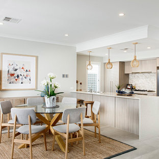 Inspiration for a contemporary open plan dining in Perth with grey walls.