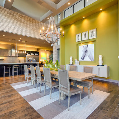 Inspiration for a large contemporary medium tone wood floor great room remodel in Dallas with green walls