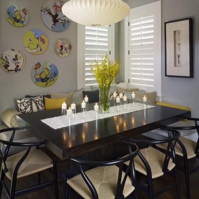 Inspiration for a contemporary dark wood floor dining room remodel in Denver with gray walls