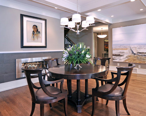 Transitional medium tone wood floor dining room photo in Calgary with gray  walls. Two Tone Paint Dining Room Ideas   Photos   Houzz