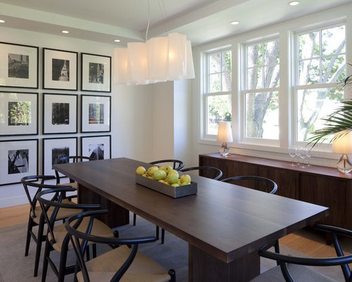 Transitional Medium Tone Wood Floor And Beige Dining Room Photo In Minneapolis With White Walls