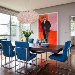 Trendy dark wood floor dining room photo in San Francisco with gray walls