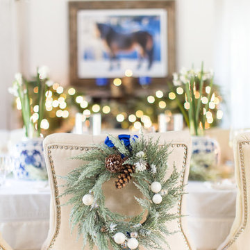 Dining Room Christmas Decorations, White and Blue Christmas