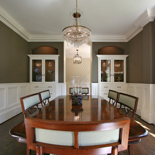 Example Of A Classic Dark Wood Floor Enclosed Dining Room Design In Atlanta  With Brown Walls