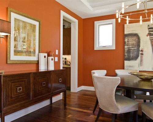 Dining Room   Contemporary Dining Room Idea In Denver With Orange Walls