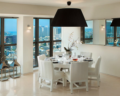 Contemporary dining room idea in Other with white walls. White Dining Room   Houzz
