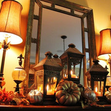 Traditional Dining Room Dining Room Fall Mantle Vignette