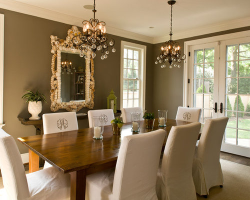 Example Of A Mid Sized Classic Dark Wood Floor And Brown Floor Enclosed  Dining Room