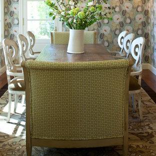 Dining room - transitional dark wood floor dining room idea in Other