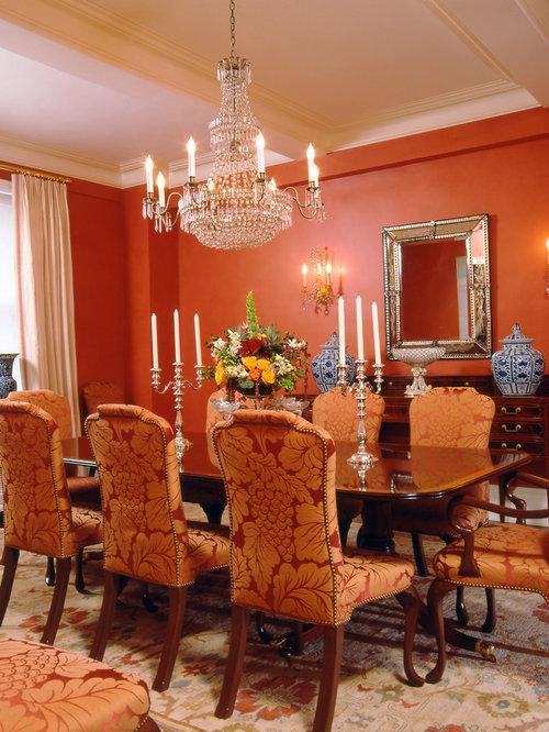 Dining Room Design Ideas Renovations Photos With Orange Walls