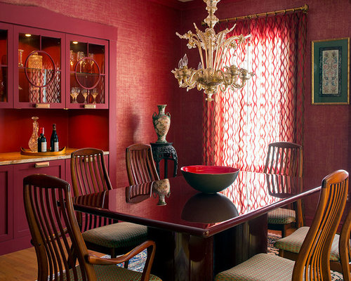 Transitional dining room design ideas renovations for Dining room ideas with red walls
