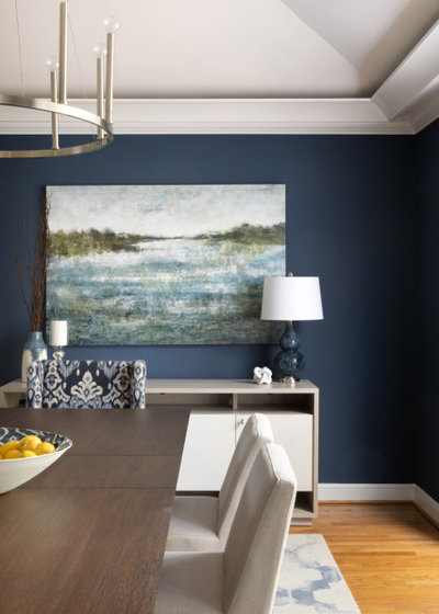 Transitional Dining Room by Erica Peale Design