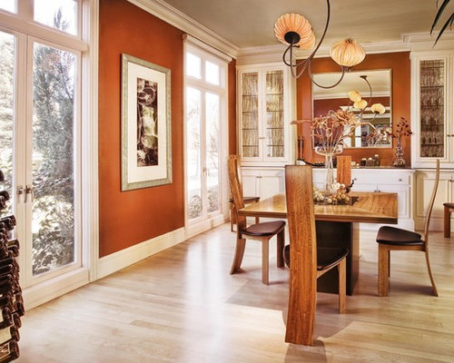 Contemporary Light Wood Floor And Beige Floor Dining Room Idea In San  Francisco With Brown Walls