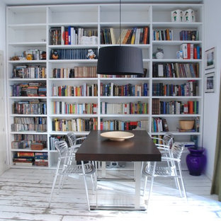 Inspiration for a contemporary painted wood floor and white floor dining room remodel in San Francisco with white walls