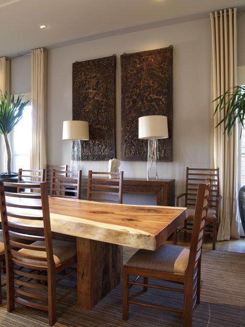 Contemporary Dining Room Idea In Atlanta With White Walls