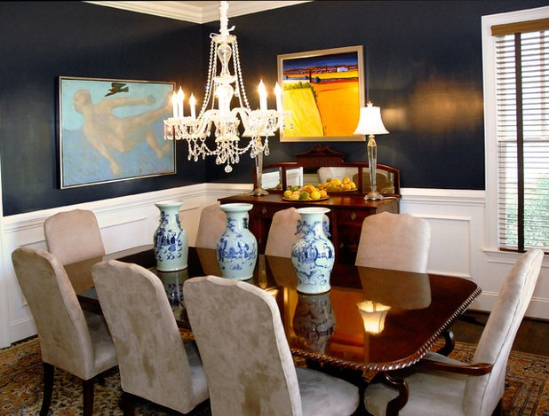 Transitional Dining Room by Leland Interiors, LLC
