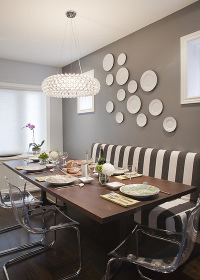 Transitional Dining Room by Leslie Goodwin Photography