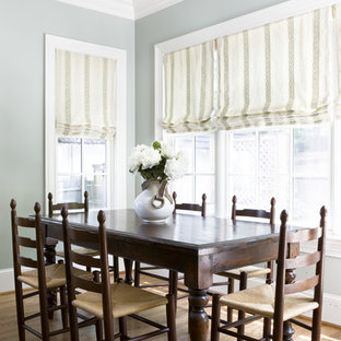 Inspiration for a timeless medium tone wood floor dining room remodel in DC Metro with gray walls