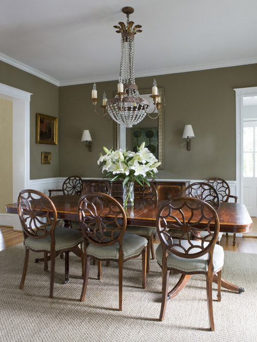 Olive green walls houzz for Olive green dining room ideas