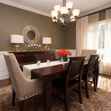Transitional Dining Room by Lisa Fero Interiors, LLC.