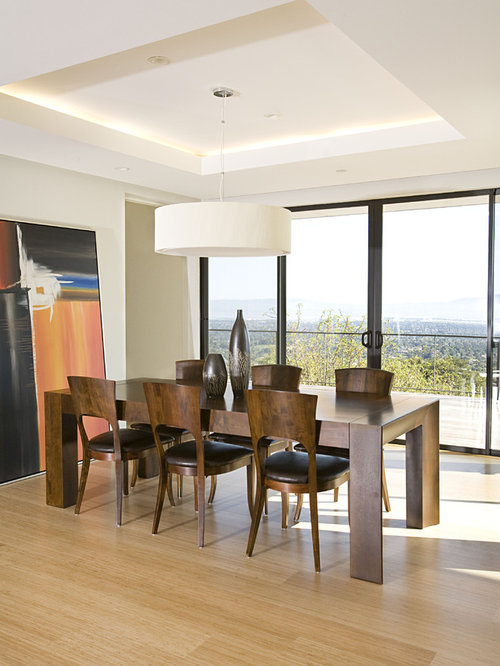 Example Of A Trendy Bamboo Floor And Beige Floor Dining Room Design In San  Francisco