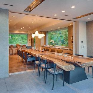 Foto di una grande sala da pranzo aperta verso la cucina contemporanea con pareti grigie e parquet chiaro
