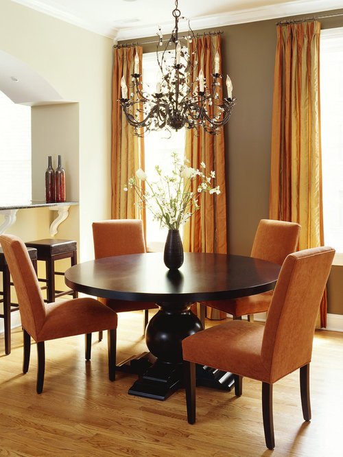 Example Of A Trendy Medium Tone Wood Floor And Beige Floor Dining Room  Design In Chicago Part 55