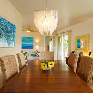 Mid Sized Island Style Medium Tone Wood Floor Dining Room Photo In Los  Angeles With