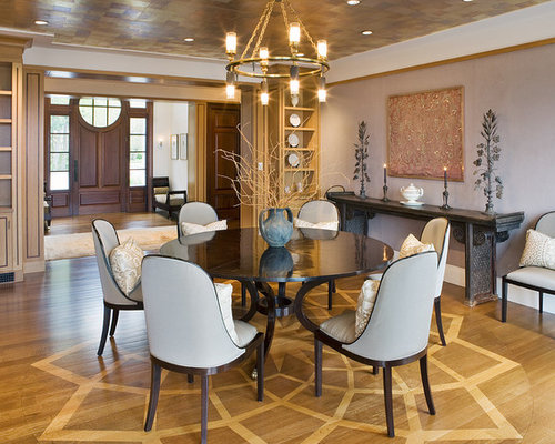 Example Of A Mid Sized Trendy Medium Tone Wood Floor Enclosed Dining Room Design In