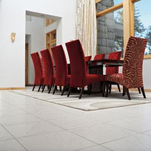 Foto di una grande sala da pranzo aperta verso il soggiorno contemporanea con pareti bianche, pavimento con piastrelle in ceramica, nessun camino e pavimento grigio