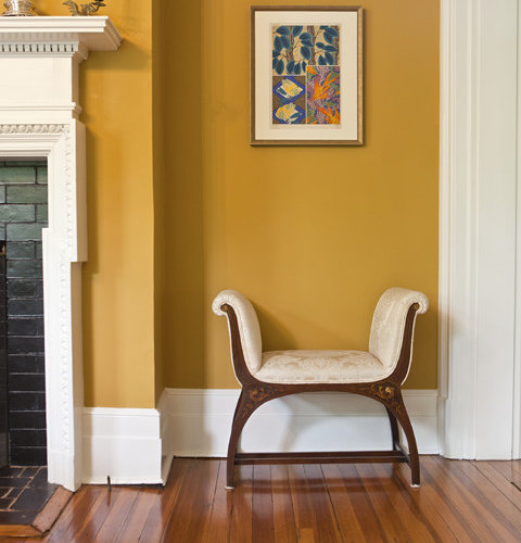 Mustard colored wall home design ideas pictures remodel for Living room ideas mustard