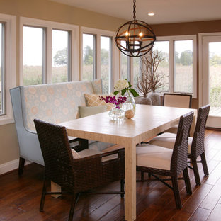 Inspiration for a mid-sized transitional dark wood floor kitchen/dining room combo remodel in DC Metro with beige walls and no fireplace