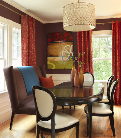 Contemporary Dining Room by Rachel Reider Interiors. Cozy Up to a Loveseat at the Table
