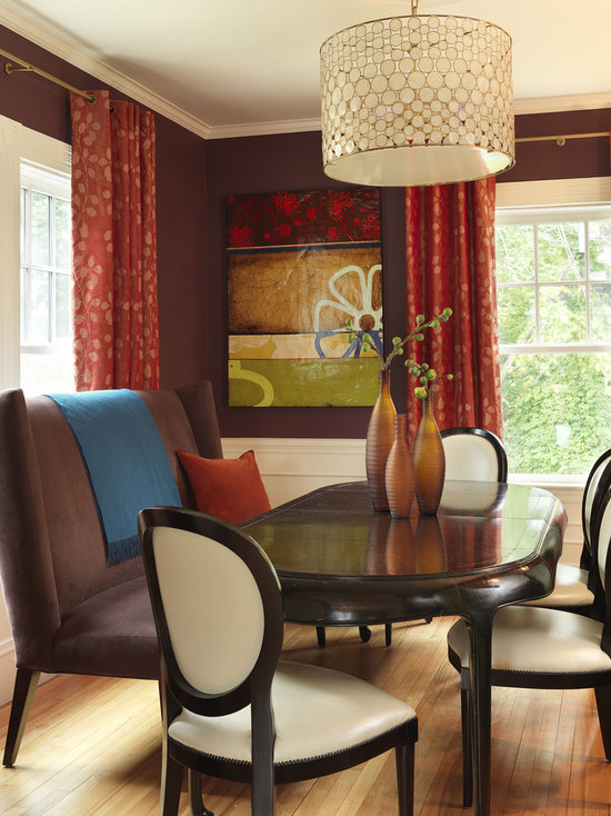 Red Dining Room Curtains Red Dining Room Brown Curtains | Houzz