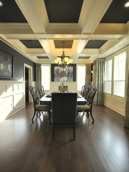 Inspiration for a timeless dark wood floor and brown floor dining room  remodel in Edmonton with. Dining Room Coffered Ceiling   Houzz