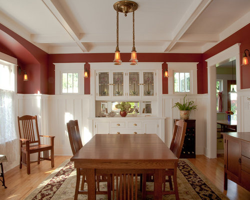 Enclosed Dining Room   Large Craftsman Light Wood Floor Enclosed Dining Room  Idea In Seattle With