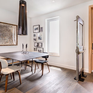 Inspiration for a medium sized contemporary enclosed dining room in Toronto with white walls and medium hardwood flooring.