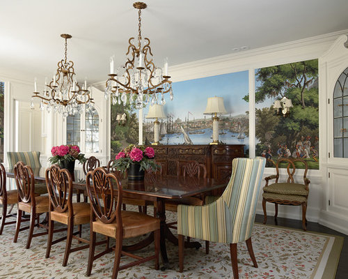 Mid Sized Elegant Dark Wood Floor Enclosed Dining Room Photo In Minneapolis With White Walls