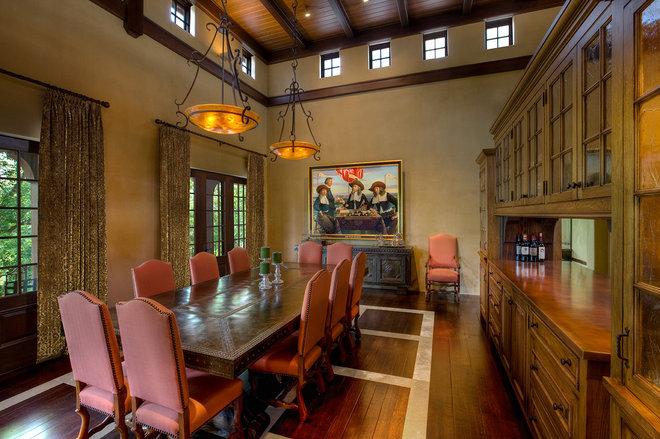 Mediterranean Dining Room by RWA Architects