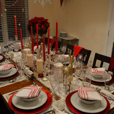 Contemporary Dining Room Dining room set-up for Holidays